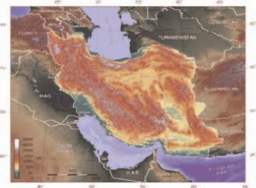 Cartina topografica dell'Iran. Fonte Wikipedia